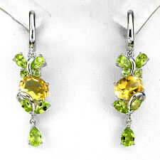 Sterling Silver 925 Genuine Natural Citrine and Peridot Dangle Earrings