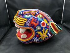 Huichol Beaded Jaguar Folk Art Carving