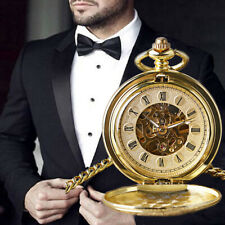 Pocket Watch Double Hunter Mechanical Pocket Watches Roman Numerals Hand Wind