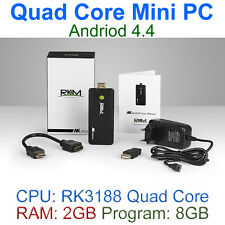 Quad Core Andriod 4.4 Mini PC 2GB RAM 8GB Program HDMI Wi-Fi BT, RKM MK802 IV