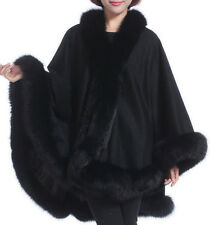 Black Cashmere Cape Wrap Shawl with Fox Fur Trim New