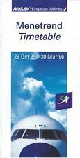 Airline Timetable - Malev Hungarian - 29/10/95