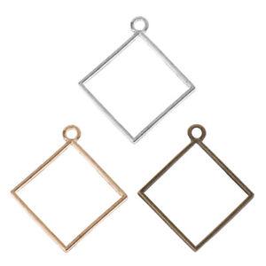 10Pcs Square Pendant Resin Frame Open Back Bezel Setting UV Resin Jewelry DIY