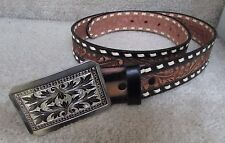 Tru-West Rockmount Hand Finished Saddle Leather Belt Size 34 Great Buckle