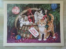 "Persis Clayton Weirs Christmas Greeting Card ""Holiday Basket"" Cats Vintage Lang"