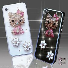 NEW DELUX BLING DIAMANTE KITTY CAT CASE COVER FOR VARIOUS MOBILE PHONES iPHONE 5