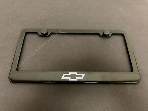 1x CHEVYBowtie LOGO BLACK Stainless Metal License Plate Frame + Screw Caps