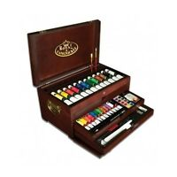 Wooden Artist Supply Box Acrylic Watercolor Oil Paint Chest Art Set 80 Piece