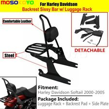 Black Backrest Sissy Bar Pad Luggage Rack Fit 2000-2005 Harley Softail FLST FXST