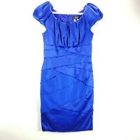 Tadashi Collection Cocktail Dress Formal Womens Size 12 Cap Sleeve Sapphire Blue