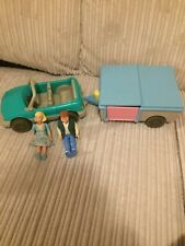 VINTAGE FISHER PRICE  CAR AND POP UP CAMPER