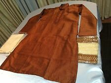 "36"" S Sherwani Suit Indian Bollywood Mens Traditional Kurtha Terracotta #MM11"