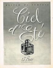 PUBLICITE ADVERTISING 0314   1959   L.T PIVER   parfum CIEL D'ETE