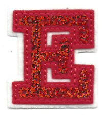 """LETTERS - Red Sequin  2"""" Letter """"E"""" - Iron On Embroidered Applique"""