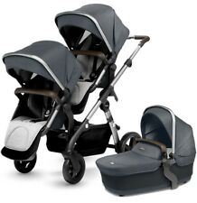 Silver Cross Wave Twin Baby Double Pram System Stroller with Bassinet Slate New