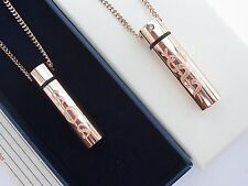 ROSE GOLD SOS/CADUCEUS TALISMAN NECKLACE MEDICAL INFORMATION/STAINLESS STEEL