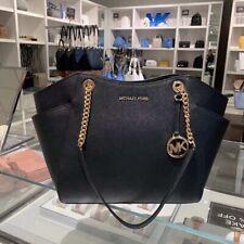 Michael Kors Jet Set Travel Chain Black Sffn  Leather Purse Tote Shoulder Bag