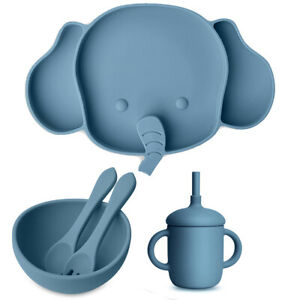 Silicone Baby Suction Divided Elephant Plate Bowl Spoon Fork Cup Straw - Blue