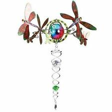 Iron Stop Gazing Ball 3D DRAGONFLY Topper Silver Twister Green Crystal -RRP £30