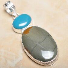 "Handmade Natural Ocean Jasper Gemstone 925 Sterling Silver Pendant 2.75"" #P11250"