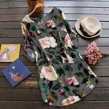 ZANZEA Women's Floral Print Mini Dress Summer Party Long Shirt Dress Plus Size