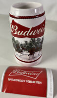 BUDWEISER Holiday Beer Stein 2016 Clydesdales Christmas With COA Spellout 31Oz