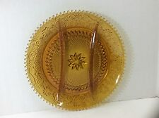 BEAUTIFUL VINTAGE AMBER CUT DEPRESSION GLASS PARTITIONED SERVING PLATTER