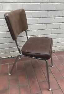 Brown Vynil Retro Kitchen Chair One Only