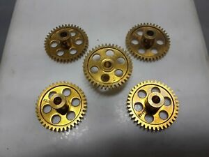 1/24 (5) brass superlight spur gears 40 tooth.48 pitch.1/8 axle. NOS. see pics.
