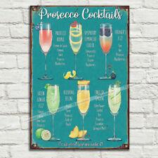 Prosecco Cocktail Ricette ALU in Metallo Latta Placca Segnaletica Man Grotta Pub Club Cafe