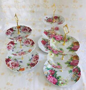 3 Tier Ceramic Vintage Floral Display Cake Stands Golden Wedding Anniversaries