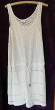 Next White Cotton Nylon Waisted Shift Dress with cord tie front, size 14