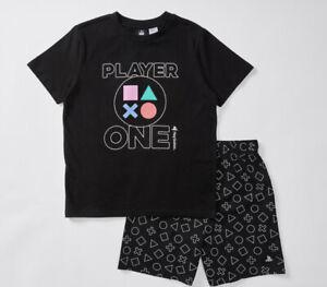 Boys size 10 Black PLAYSTATION player one summer pyjamas pjs   COTTON  NEW
