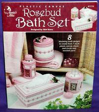 Annies Attic Rosebud Bath Set Plastic Canvas Chart Leaflet Tissue Box Holder