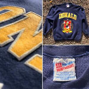 VTG 90s Hanes Disney Donald Duck University PUFF PRINT Cartoon Sweat Shirt XL