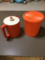 2 Pc Vtg Tupperware Orange Servalier Nesting Canister 807 w/Lid & 1575 Juice+Lid