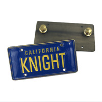 KNIGHT License Plate Medallion Pin with dual pin backs KITT