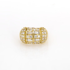 Estate Round Baguette Diamond Cocktail Ring 18K Yellow Gold 2.80 CTW Size 5.75
