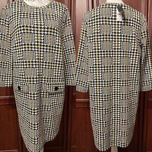 M&Co NWT UK 18 Black / Mustard Mix Checked Tunic Dress RRP £34.99