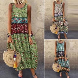 Plus Size Women Summer Floral Long Dress Ladies Bohemia Holiday Beach Maxi Dress