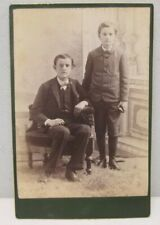 Cabinet Card Portrait Of 2 Young Boys Green Border Gold Guild No Photographer