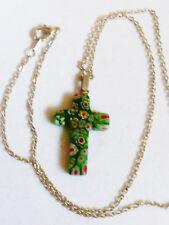 """Silver tone chain neckclase 18""""L Green Millefiori art Glass cross pendant"""