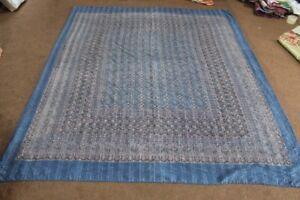 Indian Ajrakh Print Kantha Quilt Vintage King Bedspread Throw Cotton Blanket