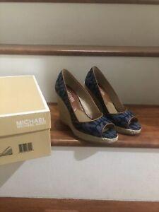 Michael Kors Cabana Open Peep-Toe Platform Wedges Jean Color
