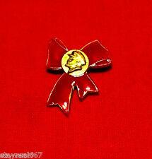 Authentic Soviet USSR Propaganda Pin Badge VLADIMIR LENIN KOMSOMOL RED BOW