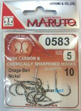 AMI FISHING 0583 ONAGA BARI NICKEL SIZE 5 MARUTO JAPAN HOOKS EYELESS DE