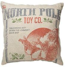 "Primitive North Pole Toy Co.  20""x20"" Christmas Pillow"