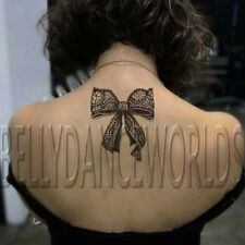 LARGE SEXY BLACK LACE RIBBON BOW TEMPORARY TATTOO BACK NECK STICKER TATOUAGE NEW