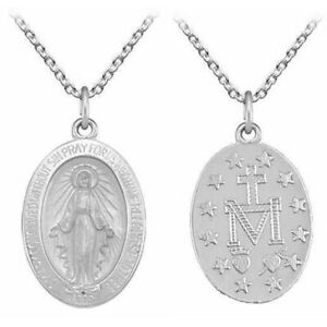 New Sterling Silver Virgin Mary Miraculous Medal Pendant Necklace Jewellery