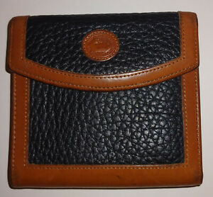 Vintage Dooney & Bourke Small Wallet Kiss Lock Coin Brown Black Pebble Leather